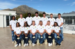 STELLENBOSCH, SOUTH AFRICA - MAY 06: (Front row) Justin Geduld, Seabelo Senatla, Philip Snyman (c), Neil Powell (coach), Kyle Brown and Cecil Afrika. (Back row) Rosko Specman, Dylan Sage, Tim Agaba, Ryan Kankowski, Ruhan Nel, Francois Hougaard and Kwagga Smith during the Springbok Sevens team announcement and media day at Markotter Club House, Paul Roos school on May 06 2016 in Stellenbosch, South Africa (Photo by Ashley Vlotman/Gallo Images)Spring