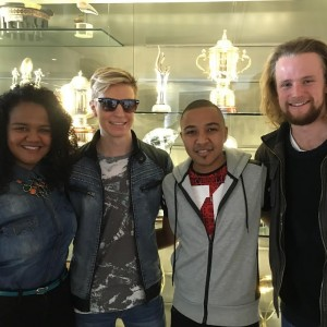nthem singers (from left to right) Lana Crowster, Vernon Barnard, Nathan Hendricks and Richard Stirton, winner of The Voice SA, taken in front of the SA Rugby trophy cabinet, is attached. Please credit SA Rugby.