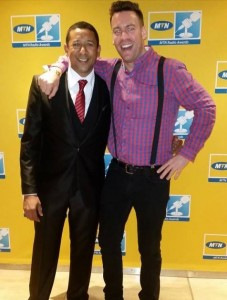 Baydu Adams and Rory Petzer producer of Phat Joe's Afternoon Drive show at ECR in Durban at Radio Awards