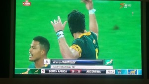 Pic taken at Baywest Mall from their big screen. Just after Warren Whitely scored the winning try.