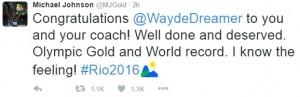 Michael Johnson congratulates Wayde!