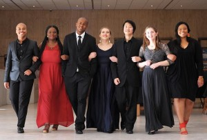 Cape Town - 22 July 2016 - (L-R) Ntando Ngcume; Abongile Fumba; Ongama Mhlontlo; LeOui Rendsburg;  Kevin (Gyu-Min) Kim; Amber De Decker; Nombulelo Yende are young musicians studying at UCT who will be performing with the CTPO at the Artscape as part of the Youth Music Festival.