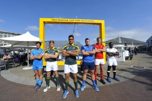 CAPE TOWN, SOUTH AFRICA - AUGUST 11: (L-R) Lorenzo Masselli (Italy), Louritz van der Schyff (SA Schools A Captain), Salmaan Moerat (SA Schools Captain), Daniel Brennan (France), Callum Bradbury (Wales) and Josh Bayliss (England) during the U/19 International Series media opportunity with team captains at V&A Waterfront on August 11, 2016 in Cape Town, South Africa. (Photo by Ashley Vlotman/Gallo Images)