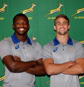 CAPE TOWN, SOUTH AFRICA - MAY 10: Junior Pokomela (vice-captain), Jeremy Ward (captain) and Ernst van Rhyn (vice-captain) during the Junior Springbok World Rugby U20 Championship squad announcement at SARU House on May 10, 2016 in Cape Town, South Africa. (Photo by Ashley Vlotman/Gallo Images)