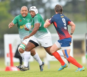 Layle Delo of RSK Evergreens charges ahead during his team's nail biting 27-19 defeat to champions Durbanville-Bellville in last Saturday's Gold Cup quarterfinal played in Cape Town. Evergreens finished the tournament in fifth place – their highest ever placing. Photo: Ashley Vlotman/Gallo Images.