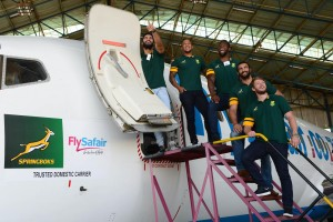 JOHANNESBURG, SOUTH AFRICA - MARCH 29: Damian de Allende, Elton Jantjies,  Siya Kolis, Uzair Cassiem and Ruan Combrinck during the SA Rugby and FlySafair media briefing at O.R. Tambo International Airport on March 29, 2017 in Johannesburg, South Africa. (Photo by Lee Warren/Gallo Images)
