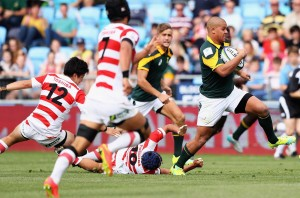MANCHESTER, ENGLAND - JUNE 07:  Zain Davids of South Africa makes a break during the World Rugby U20 Championship match between South Africa and Japan at The Academy Stadium on June 7, 2016 in Manchester, England.  (Photo by Matthew Lewis/Getty Images)