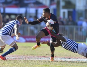 CAPE TOWN, SOUTH AFRICA - MARCH 13: Aphiwe Dyantyi (VC) of FNB UJ during the FNB Varsity Cup match between FNB UCT and FNB UJ at UCT Rugby Fields on March 13, 2017 in Cape Town, South Africa. (Photo by Ashley Vlotman/Gallo Images)