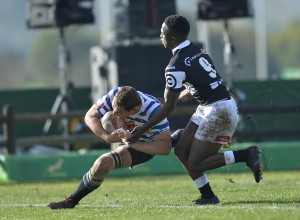 Hendrik Nicolaas Siebert of DHL Western Province on his way to score a try . Pic:  Ashley Vlotman/Gallo Images